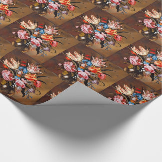 Colorful Vintage Vase of Painted Flowers Wrapping Paper