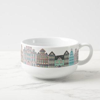 Colorful Vintge Row Houses Soup Mug