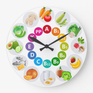Colorful Vitamin Rich Foods Large Clock