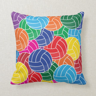 Colorful Volleyball Collage Throw Pillow