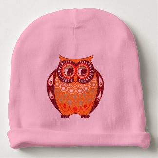 Colorful Warm Tones Cute Owl Illustration Baby Beanie