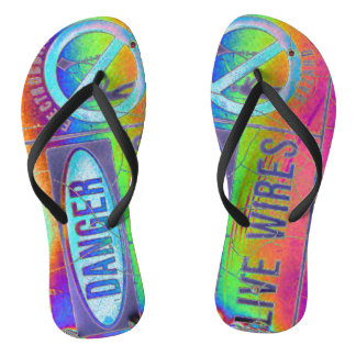 Colorful Warning Flip Flops