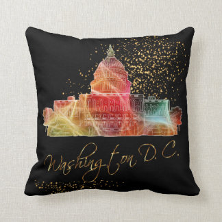 Colorful Washington D.C. White House Throw Pillow