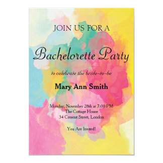 Colorful Water Color Bachelorette Party Card