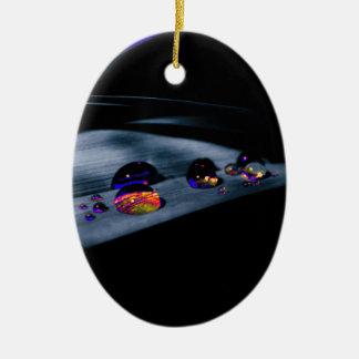 Colorful Water Drops Ceramic Oval Ornament