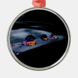 Colorful Water Drops Silver-Colored Round Ornament