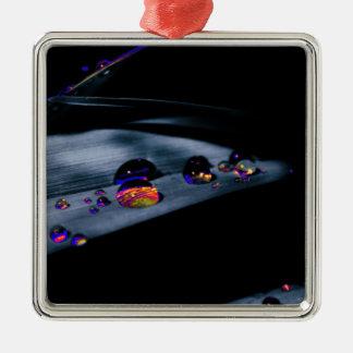 Colorful Water Drops Silver-Colored Square Ornament