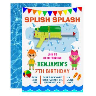Colorful Water Gun Kids Birthday Party Invitation