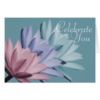 Colorful Water Lily Flowers Photo Chic Floral Card