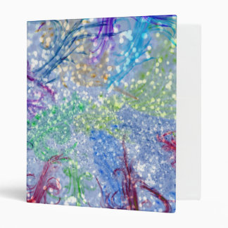 Colorful Watercolor Blue Abstract Glitter 3 Ring Binder