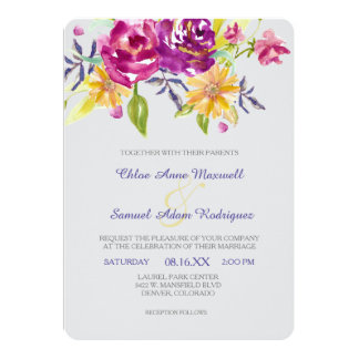 Colorful Watercolor Bouquet Wedding Card