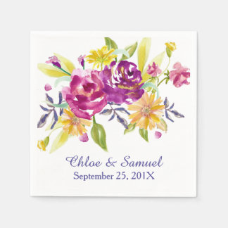 Colorful Watercolor Bouquet Wedding Paper Napkin