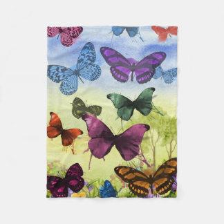Colorful watercolor butterflies illustration fleece blanket