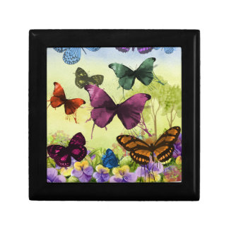 Colorful watercolor butterflies illustration jewelry box