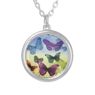 Colorful watercolor butterflies illustration silver plated necklace