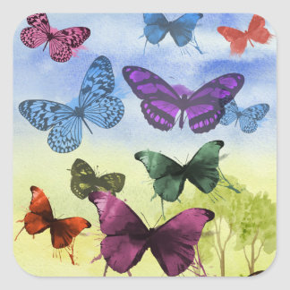 Colorful watercolor butterflies illustration square sticker