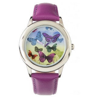 Colorful watercolor butterflies illustration wrist watches
