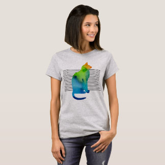 Colorful watercolor cat with lines T-Shirt