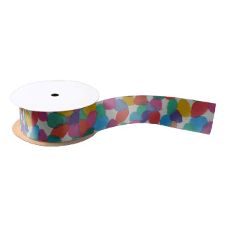 Colorful Watercolor Dots Satin Ribbon