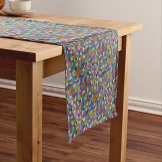 Colorful Watercolor Dots Short Table Runner