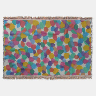 Colorful Watercolor Dots Throw Blanket