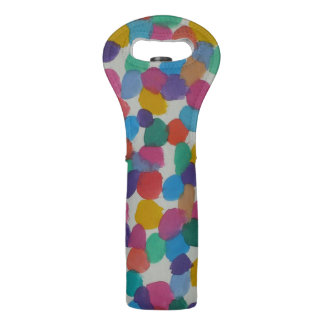 Colorful Watercolor Dots Wine Bag