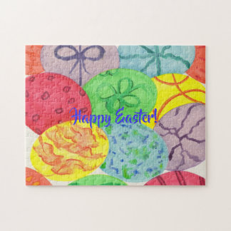 Colorful Watercolor Easter Eggs Puzzles