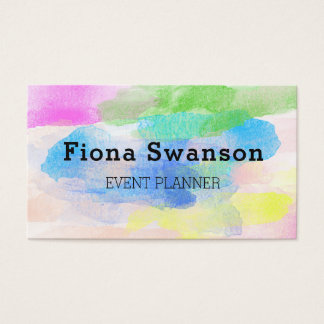 Colorful Watercolor Event Planner Business Card