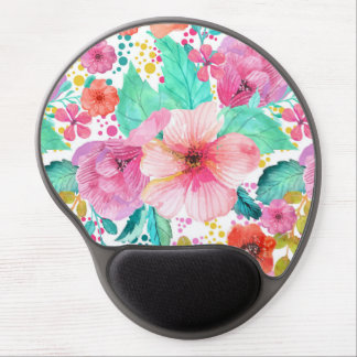 Colorful WaterColor Floral Collage Pattern Gel Mouse Pad