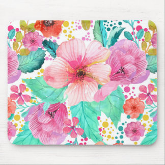 Colorful WaterColor Floral Collage Pattern Mouse Pad