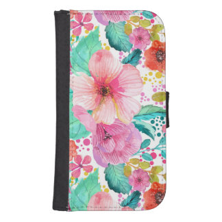 Colorful WaterColor Floral Collage Phone Wallet Cases