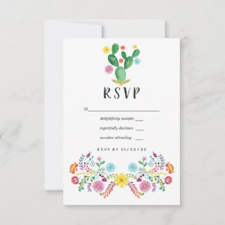 Colorful Watercolor Floral Mexican Fiesta Wedding RSVP Card