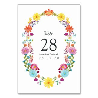 Colorful Watercolor Floral Mexican Fiesta Wedding Table Number