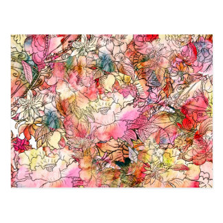 Colorful Watercolor Floral Pattern Abstract Sketch Postcard