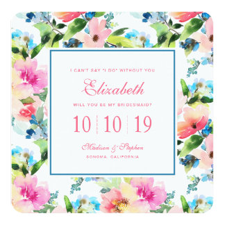 Colorful Watercolor Floral Pattern - Bridesmaid Card