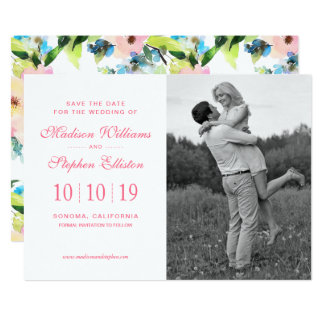 Colorful Watercolor Floral Pattern - Save the Date Card