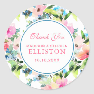 Colorful Watercolor Floral Pattern | Thank You Classic Round Sticker