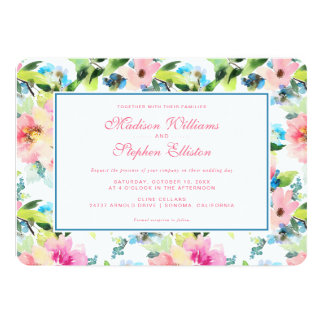 Colorful Watercolor Floral Pattern - Wedding Card