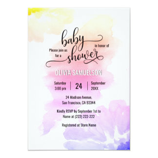 Colorful Watercolor Floral Unisex Baby Shower Card