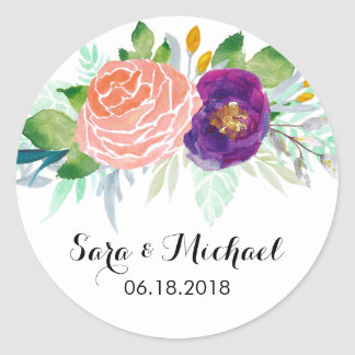 Colorful Watercolor Floral Wedding Round Sticker