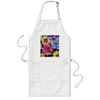 Colorful watercolor flower bouquet pattern long apron