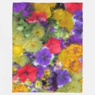 COLORFUL WATERCOLOR FLOWERS FLEECE BLANKET