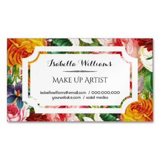 Colorful Watercolor Flowers White Label Magnetic Business Card