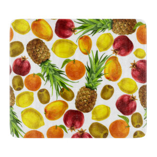 Colorful watercolor fruits glass cutting board