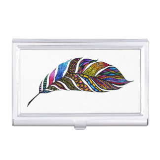Colorful Watercolor Hand Drawn Tangle Feather Business Card Holder