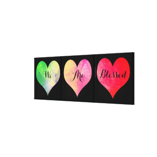 "Colorful Watercolor Hearts with ""We Are Blessed"" Canvas Print"