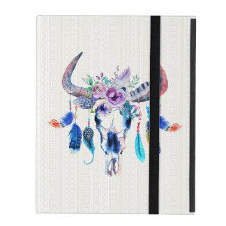 Colorful Watercolor Illustration of Bull Skull iPad Covers