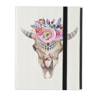 Colorful Watercolor Illustration Ox Skull iPad Folio Case