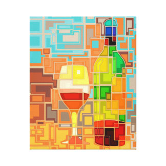 Colorful Watercolor of a wine Bottles & Glass Canvas Print