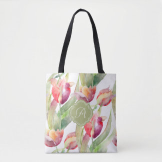 Colorful Watercolor Painted Tulips with Monogram Tote Bag